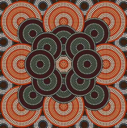 A illustration based on aboriginal style of dot painting depicting circle background 4 Vector