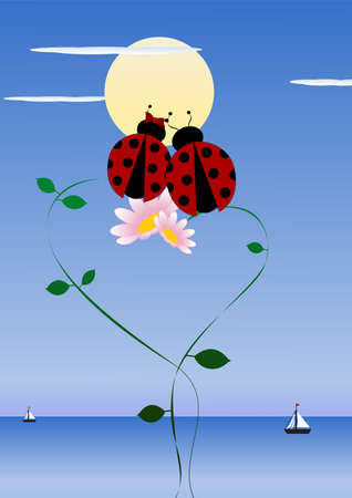 happy valentine s day: Two ladybirds in love - happy valentine s day  Illustration
