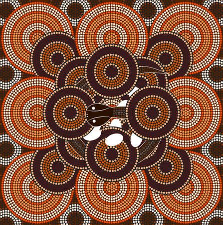 aborigines: A illustration based on aboriginal style of dot painting depicting snake