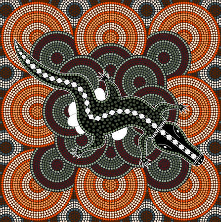 A illustration based on aboriginal style of dot painting depicting crocodile