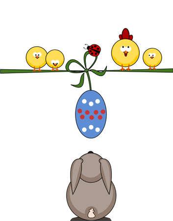 Easter greeting card - little chicks Illustration