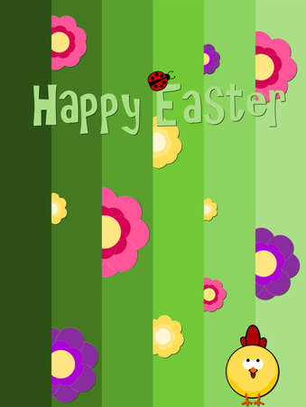 Easter greeting card - chick and little ladybird