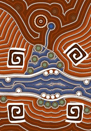 aborigen: Una ilustración basada en el estilo aborigen de la pintura de puntos que representa la estación húmeda