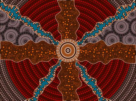 Een illustratie gebaseerd op inheemse stijl van dot schilderij van effecten Stock Illustratie