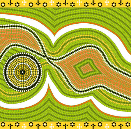 australian outback: A illustration based on aboriginal style of dot painting depicting modernism