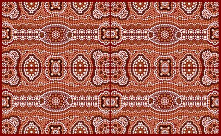 A illustration based on aboriginal style of dot painting depicting pattern Vector