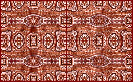 aborigen: Una ilustración basada en el estilo aborigen de la pintura de puntos que representa patrón