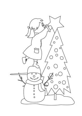 Girl decorating the Christmas tree - coloring book image Vector