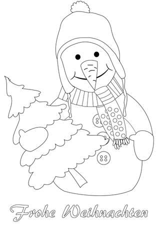 Happy snowman with christmas tree - coloring page, german text: merry christmas Vector