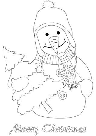 Happy snowman with christmas tree - coloring page Vector