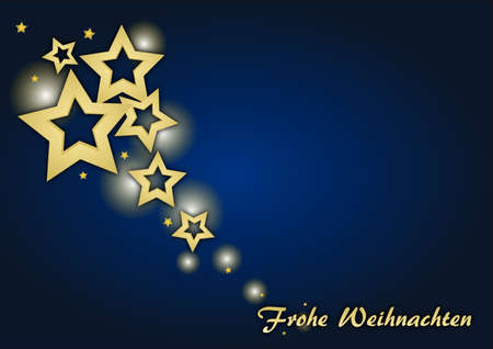 Christmas card with stars - german text: merry christmas Stock Photo