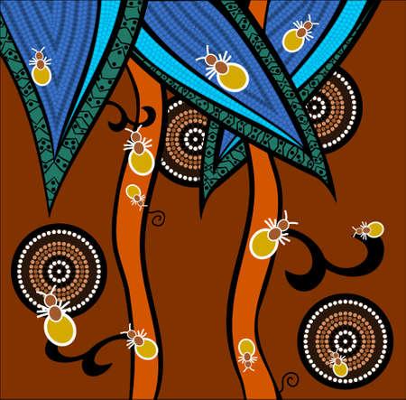 aborigen: Una ilustración basada en el estilo aborigen de la pintura que representa las hormigas punto