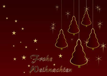 Merry Christmas - christmas trees and stars  German text: merry christmas Stock Photo