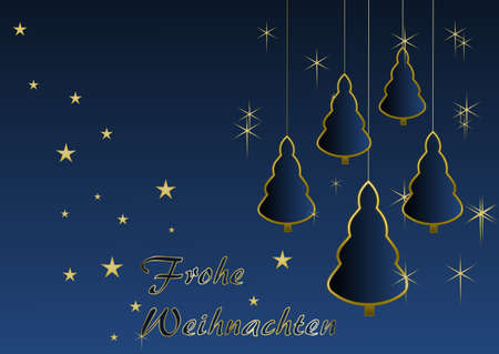 Merry Christmas - Christmas trees and stars; text is in German  merry christmas