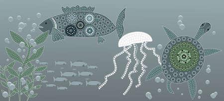 An illustration based on aboriginal style of dot painting depicting sea life Illustration
