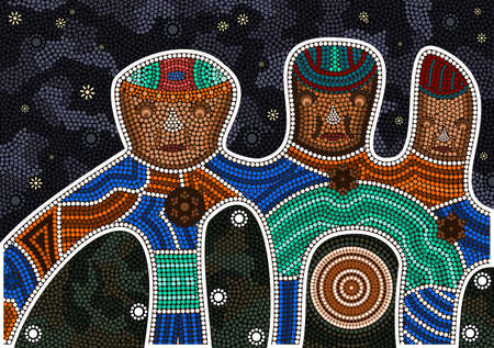 An illustration based on aboriginal style of dot painting depicting darkness and friendship black background Illustration