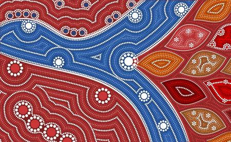 aborigen: Una ilustración basada en el estilo aborigen de la pintura del punto que representa la bifurcación del río