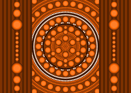 An illustration based on aboriginal style of dot painting depicting dots and strips 2