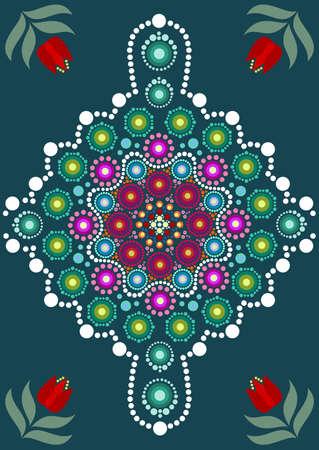 Dot painting meets mandalas. Aboriginal style of dot painting and power of mandala