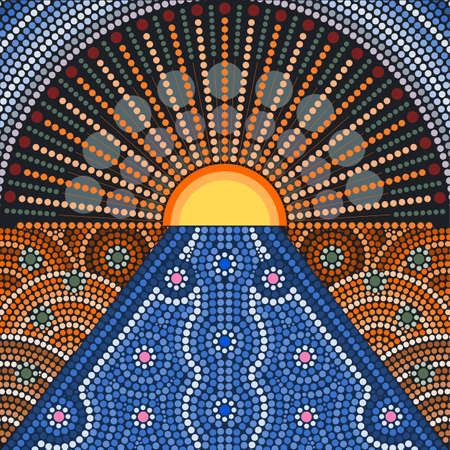 An illustration based on aboriginal style of dot painting depicting sunset