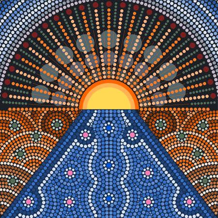 aborigen: Una ilustración basada en el estilo aborigen de la pintura del punto que representa la puesta del sol Vectores