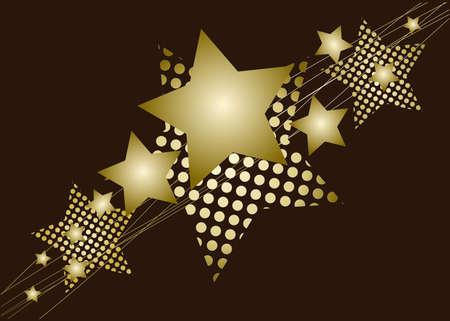 Golden Christmas star on brown background