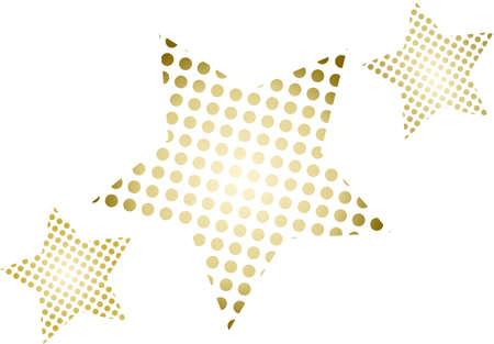 3 Golden Christmas star on white background - isolated