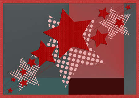 new year's card: Red Christmas and New Years card with Christmas star