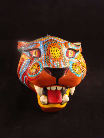 jaguar: Wooden alebrije jaguar mask from Oaxaca Mexico