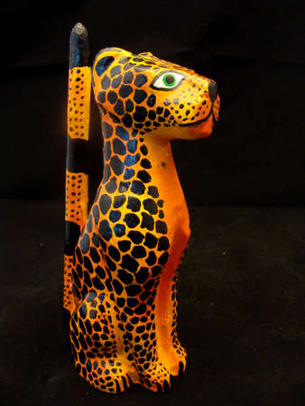 A spotted jaguar statue from Mexico photo