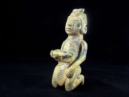 indian artifacts: A pre-Columbian figure carved from malachite