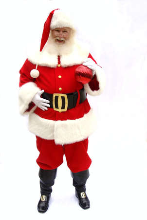 santa suit: Traditional Santa Claus on a white background Stock Photo