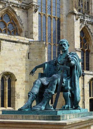 constantine: Statue of Roman Emperor Constantine at York Minster in England Editorial