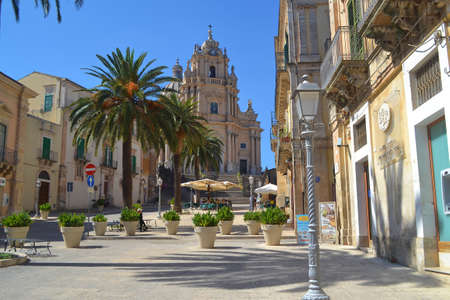 ragusa: Main Square in Ragusa Ibla in Southwest Sicily, Italy Editorial