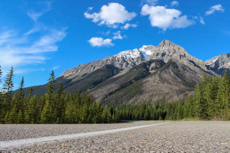 low perspective: street through canadian rocky mountains during summer, taken from a low perspective with blue sky and green trees Stock Photo