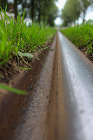 blurr: closeup of tram track in den haag surrounded by grass and trees