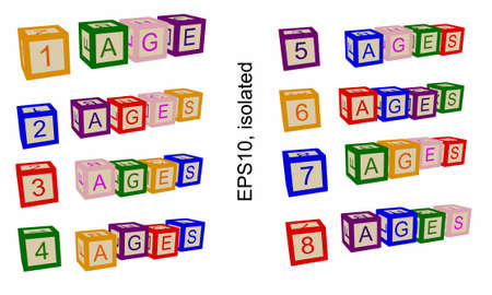 Age line, numbers of ages. Illustration for books or posters. Numbers and text on blocks or child cubes. Illustration