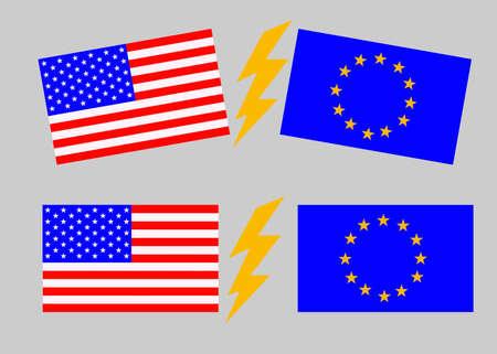 USA versus European Union. American flag and flag of Europe. Trade war, economic war. Tax tariff, price war.