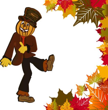 Dancing pumpkin- head scarecrow fall leaves