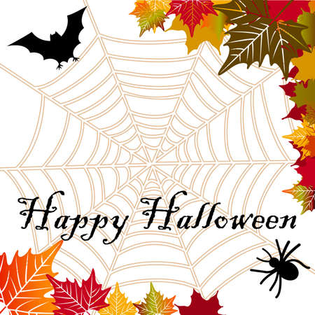Spider web spider bat and fall leaves Stock Vector - 16185176