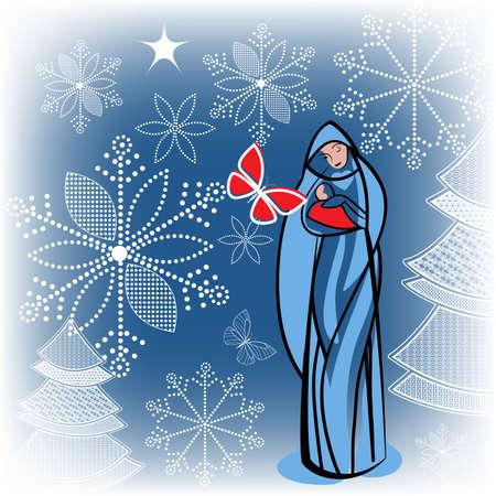 聖母マリアと幼児イエス  イラスト・ベクター素材
