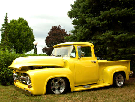 old restored yellow truck