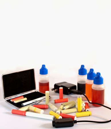 assorted electronic cigarette supplies Stock Photo