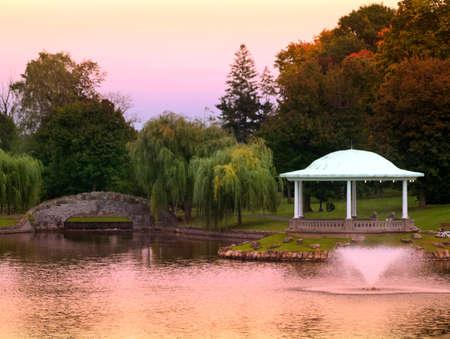 pretty park and gazebo at sundown