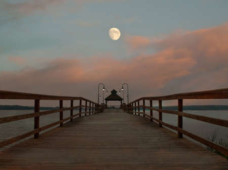 doick and moonrise scene