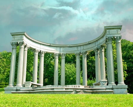 greek-style pillars in a park