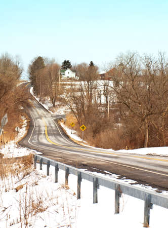 guard rail: icy back road in the countryside