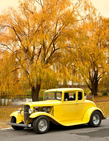 classic car in the countryside in autumn