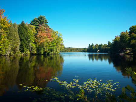 barnum pond near saranac lake in the adirondacks,new york state