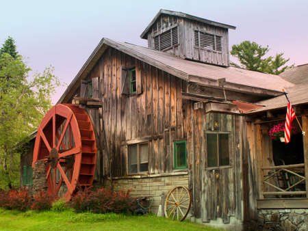 rural rustic home with a waterwheel